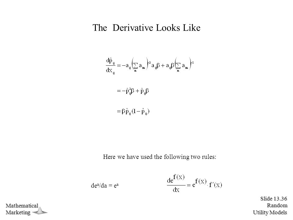 Slide 13.36 Random Utility Models MathematicalMarketing The Derivative Looks Like de a /da = e a Here we have used the following two rules:
