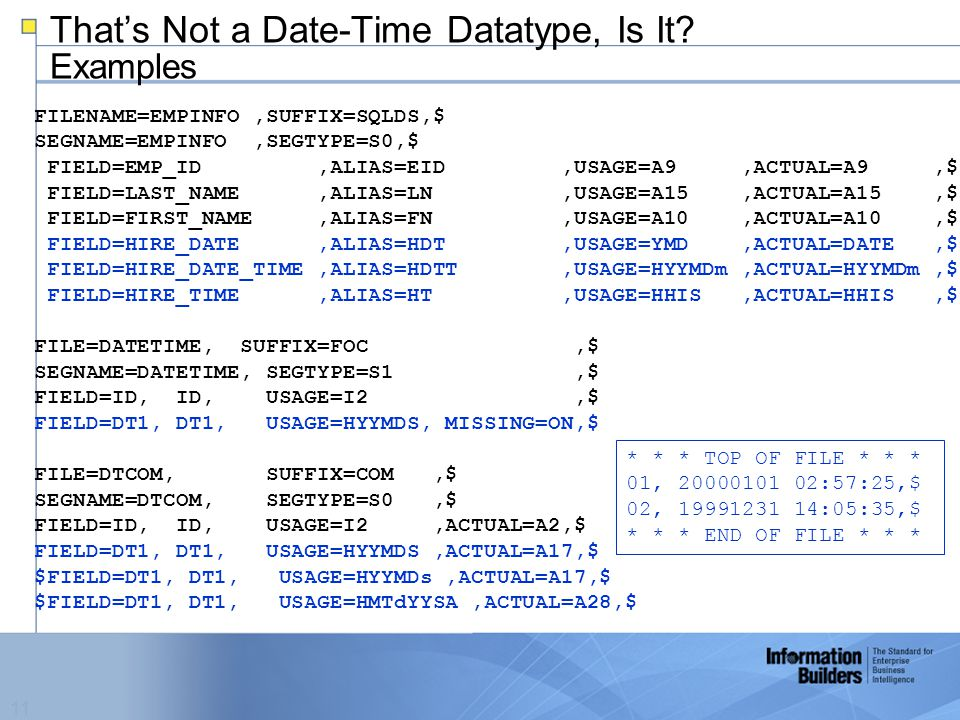 11 That's Not a Date-Time Datatype, Is It.