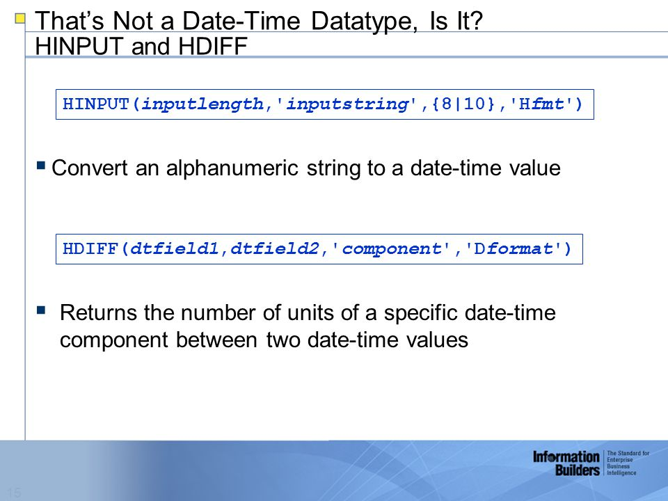 15 That's Not a Date-Time Datatype, Is It.