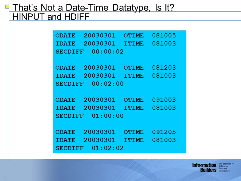18 That's Not a Date-Time Datatype, Is It.