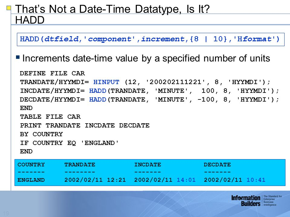 19 That's Not a Date-Time Datatype, Is It.
