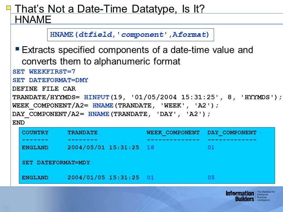 21 That's Not a Date-Time Datatype, Is It.