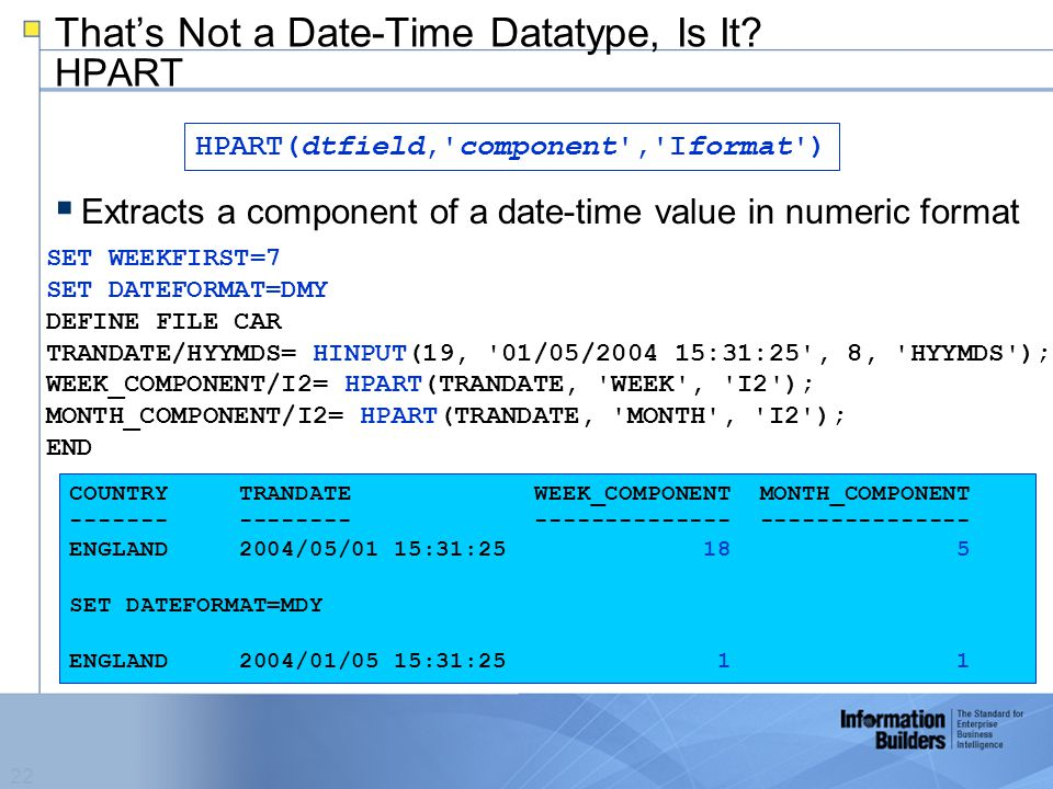 22 That's Not a Date-Time Datatype, Is It.