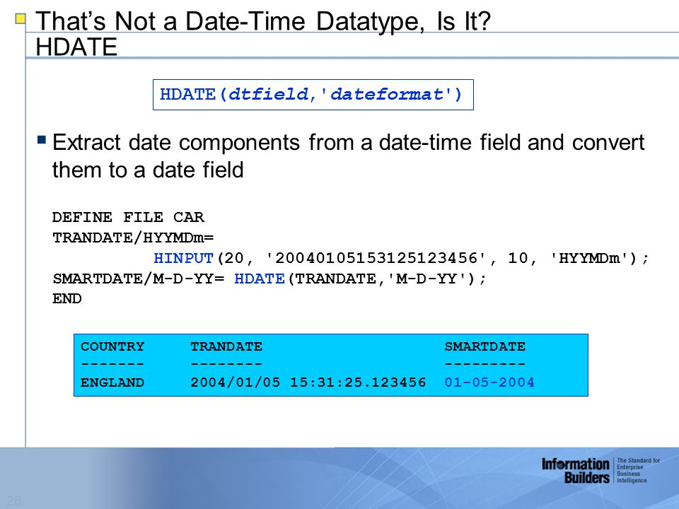 26 That's Not a Date-Time Datatype, Is It.