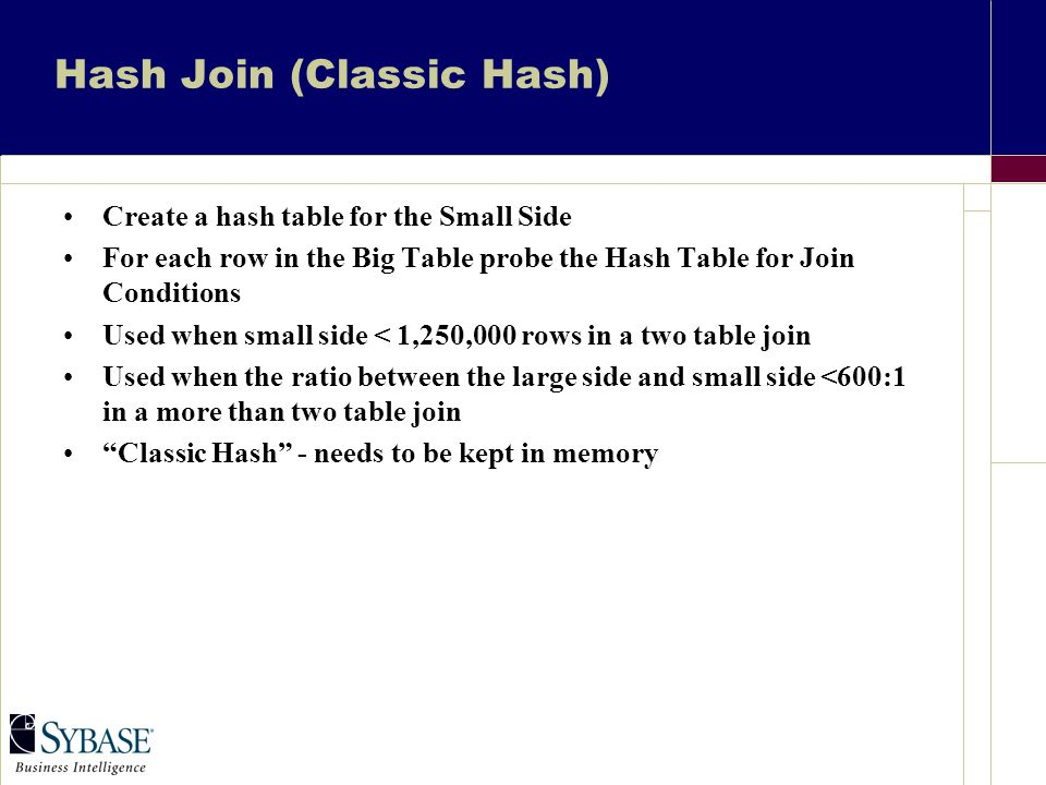 Hash Join (Classic Hash) Create a hash table for the Small Side For each row in the Big Table probe the Hash Table for Join Conditions Used when small side < 1,250,000 rows in a two table join Used when the ratio between the large side and small side <600:1 in a more than two table join Classic Hash - needs to be kept in memory