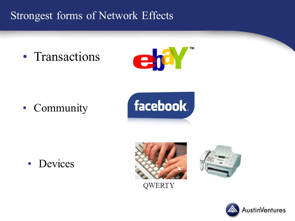 Strongest forms of Network Effects Transactions Community Devices QWERTY