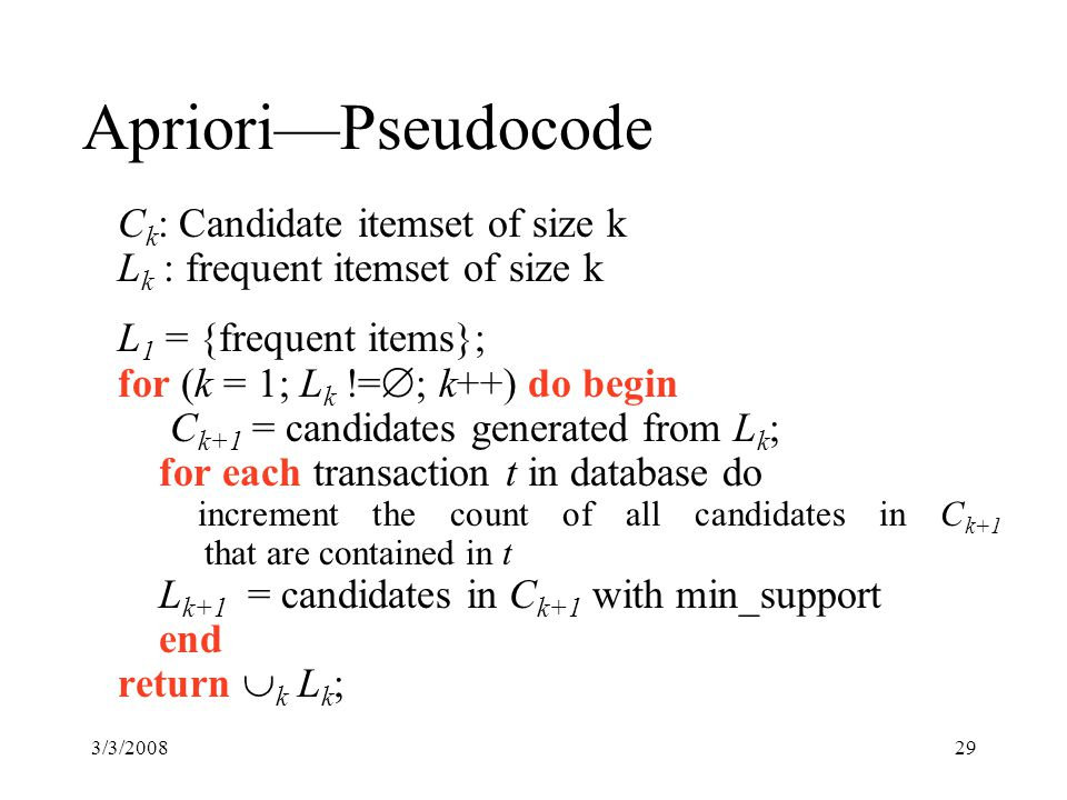3/3/200829 Apriori—Pseudocode C k : Candidate itemset of size k L k : frequent itemset of size k L 1 = {frequent items}; for (k = 1; L k !=  ; k++) do begin C k+1 = candidates generated from L k ; for each transaction t in database do increment the count of all candidates in C k+1 that are contained in t L k+1 = candidates in C k+1 with min_support end return  k L k ;