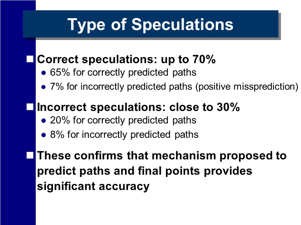 Type of Speculations Correct speculations: up to 70% 65% for correctly predicted paths 7% for incorrectly predicted paths (positive missprediction) Incorrect speculations: close to 30% 20% for correctly predicted paths 8% for incorrectly predicted paths These confirms that mechanism proposed to predict paths and final points provides significant accuracy