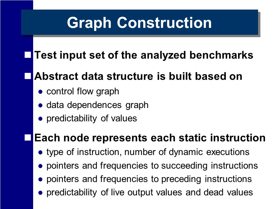 Graph Construction Test input set of the analyzed benchmarks Abstract data structure is built based on control flow graph data dependences graph predictability of values Each node represents each static instruction type of instruction, number of dynamic executions pointers and frequencies to succeeding instructions pointers and frequencies to preceding instructions predictability of live output values and dead values