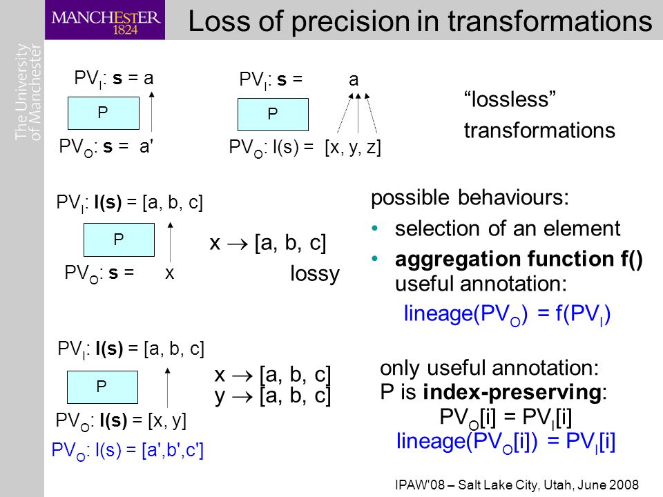 IPAW 08 – Salt Lake City, Utah, June 2008 Loss of precision in transformations PV I : l(s) = [a, b, c] P PV O : s = x possible behaviours: selection of an element aggregation function f() useful annotation: lineage(PV O ) = f(PV I )‏ PV I : s = a P PV O : s = a PV I : s = a P PV O : l(s) = [x, y, z] P PV I : l(s) = [a, b, c] PV O : l(s) = [x, y] PV O : l(s) = [a ,b ,c ] lossless transformations only useful annotation: P is index-preserving: PV O [i] = PV I [i] lineage(PV O [i]) = PV I [i] x  [a, b, c] lossy x  [a, b, c] y  [a, b, c]