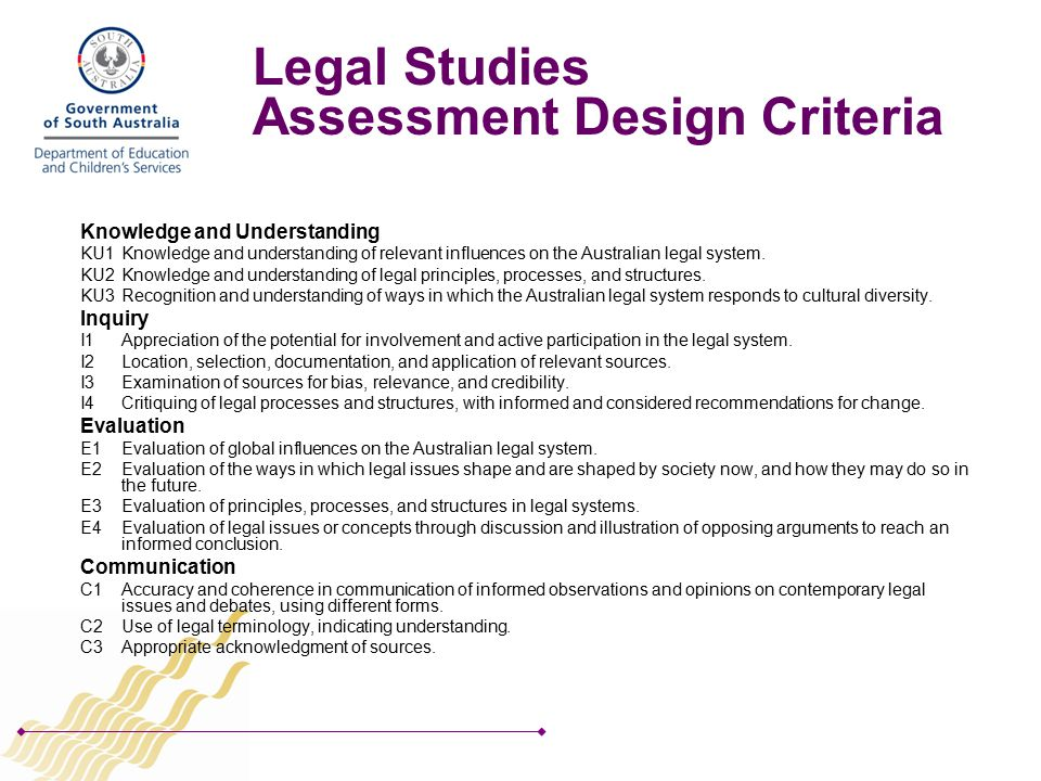 Legal Studies Assessment Design Criteria Knowledge and Understanding KU1Knowledge and understanding of relevant influences on the Australian legal system.