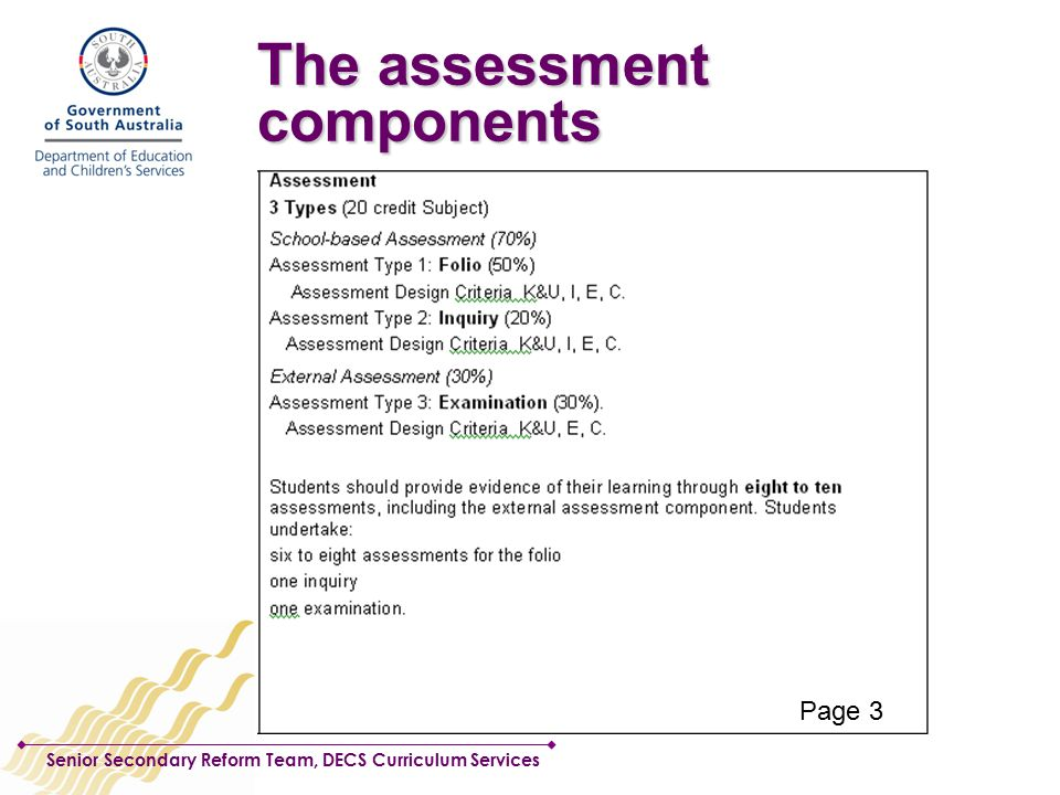Senior Secondary Reform Team, DECS Curriculum Services The assessment components Page 3