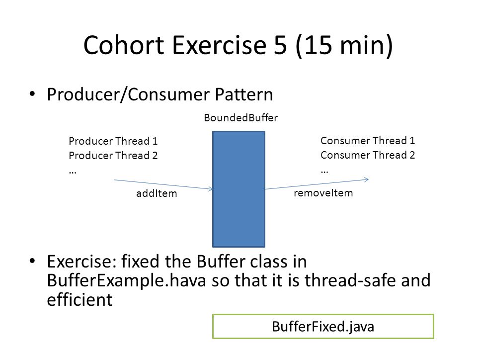 Cohort Exercise 5 (15 min) Producer/Consumer Pattern Exercise: fixed the Buffer class in BufferExample.hava so that it is thread-safe and efficient Producer Thread 1 Producer Thread 2 … Consumer Thread 1 Consumer Thread 2 … BoundedBuffer addItem removeItem BufferFixed.java