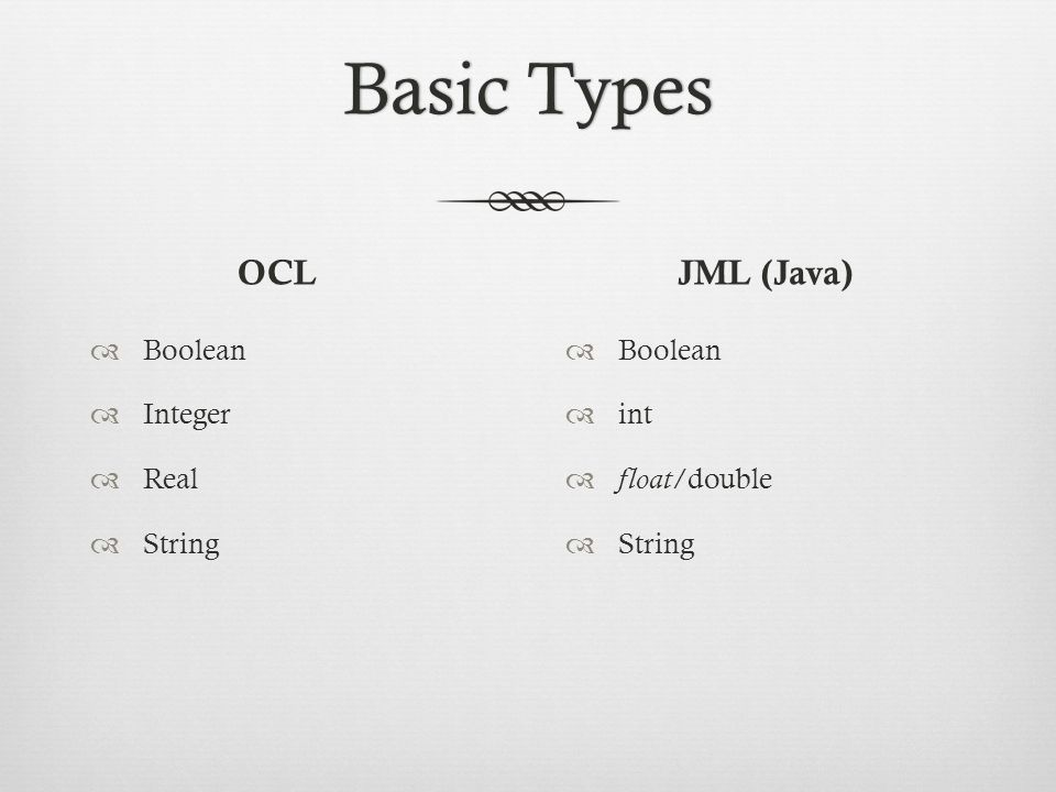 Basic TypesBasic Types OCL  Boolean  Integer  Real  String JML (Java)  Boolean  int  float /double  String