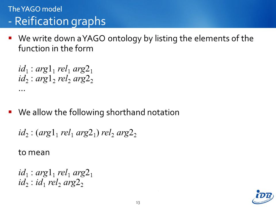 The YAGO model - Reification graphs  We write down a YAGO ontology by listing the elements of the function in the form id 1 : arg1 1 rel 1 arg2 1 id 2 : arg1 2 rel 2 arg2 2 …  We allow the following shorthand notation id 2 : (arg1 1 rel 1 arg2 1 ) rel 2 arg2 2 to mean id 1 : arg1 1 rel 1 arg2 1 id 2 : id 1 rel 2 arg2 2 13
