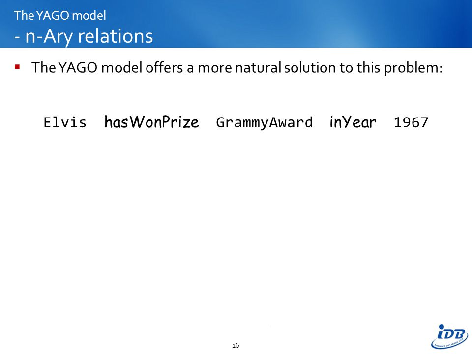 The YAGO model - n-Ary relations  The YAGO model offers a more natural solution to this problem: 16 Elvis hasWonPrize GrammyAward inYear 1967