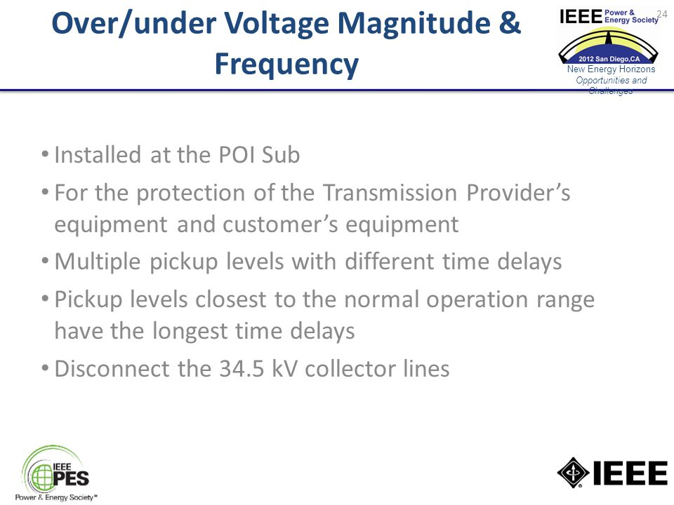 New Energy Horizons Opportunities and Challenges Over/under Voltage Magnitude & Frequency Installed at the POI Sub For the protection of the Transmission Provider's equipment and customer's equipment Multiple pickup levels with different time delays Pickup levels closest to the normal operation range have the longest time delays Disconnect the 34.5 kV collector lines 24