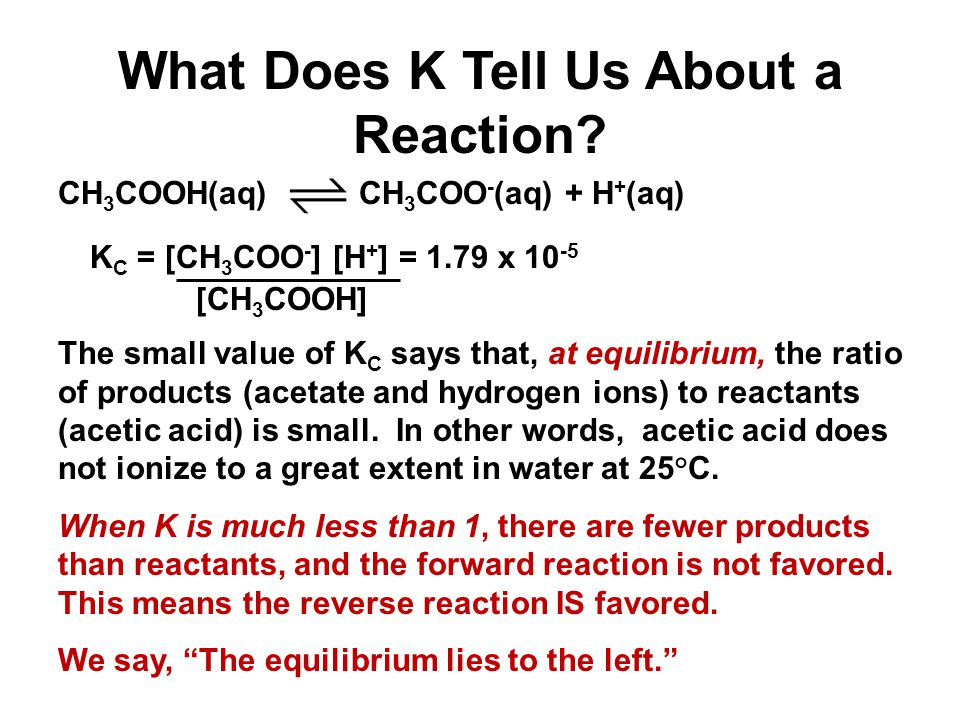 What Does K Tell Us About a Reaction.