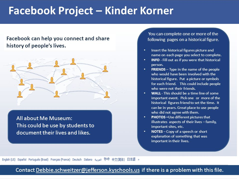 Facebook Project – Kinder Korner Facebook can help you connect and share history of people's lives.