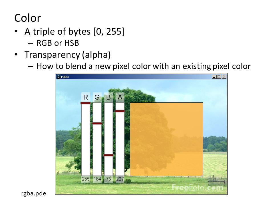 Color A triple of bytes [0, 255] – RGB or HSB Transparency (alpha) – How to blend a new pixel color with an existing pixel color rgba.pde