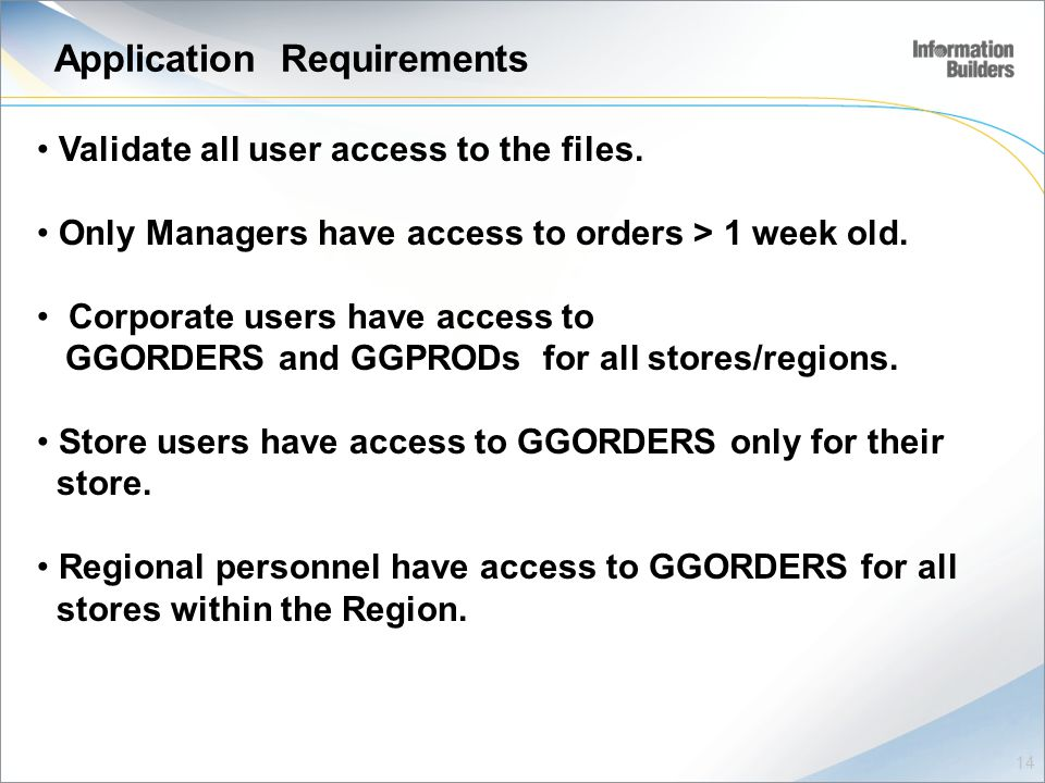 Application Requirements Validate all user access to the files.