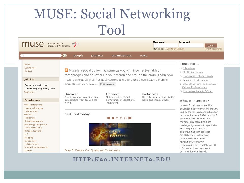 HTTP:K20.INTERNET2.EDU MUSE: Social Networking Tool