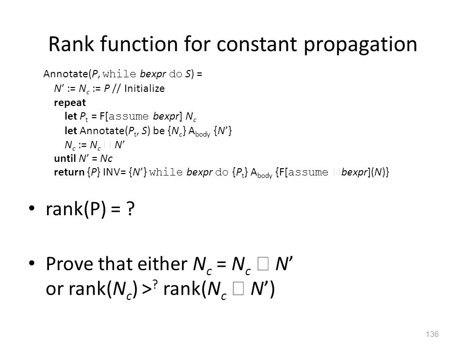 Rank function for constant propagation rank(P) = .