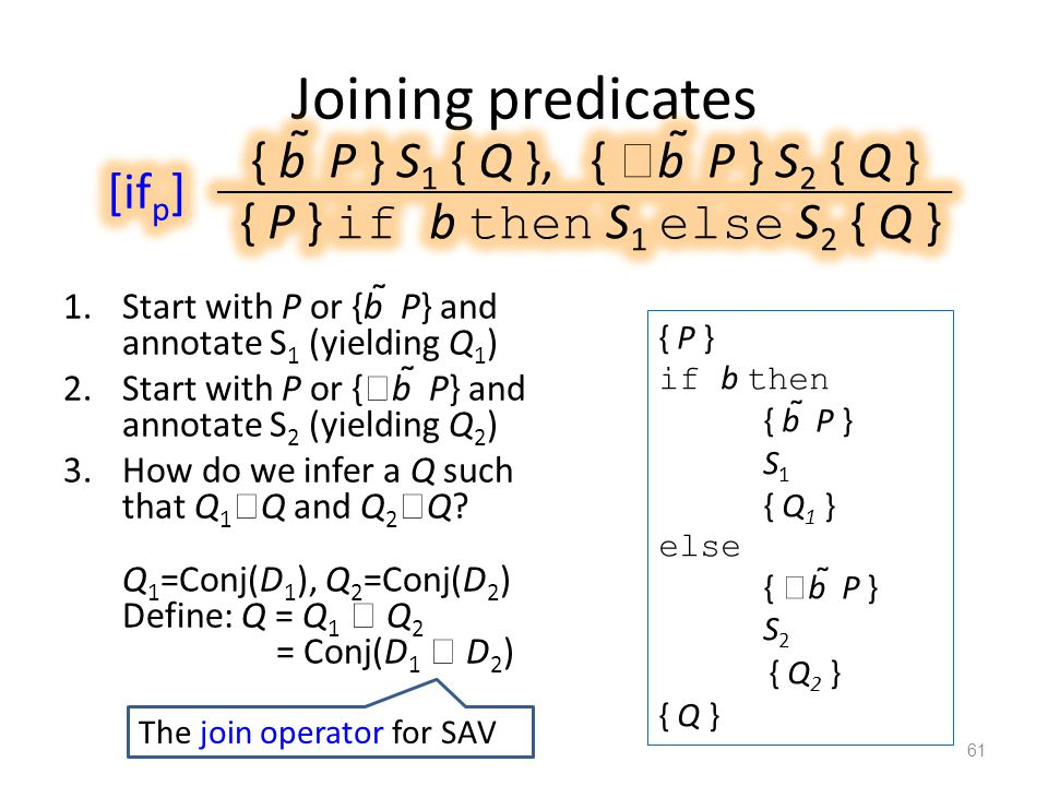 Joining predicates 1.Start with P or {b  P} and annotate S 1 (yielding Q 1 ) 2.Start with P or {  b  P} and annotate S 2 (yielding Q 2 ) 3.How do we infer a Q such that Q 1  Q and Q 2  Q.