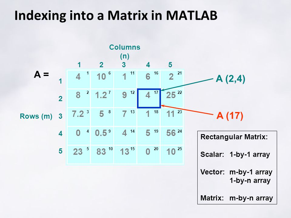 Indexing into a Matrix in MATLAB Rectangular Matrix: Scalar:1-by-1 array Vector:m-by-1 array 1-by-n array Matrix:m-by-n array