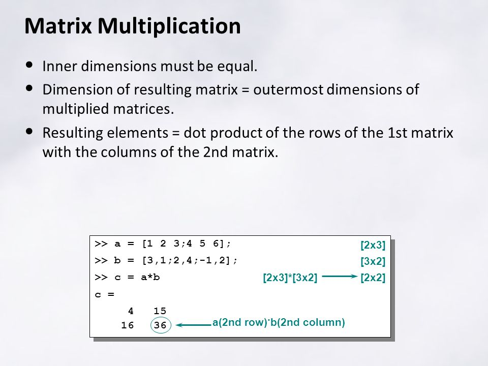 Matrix Multiplication Inner dimensions must be equal.