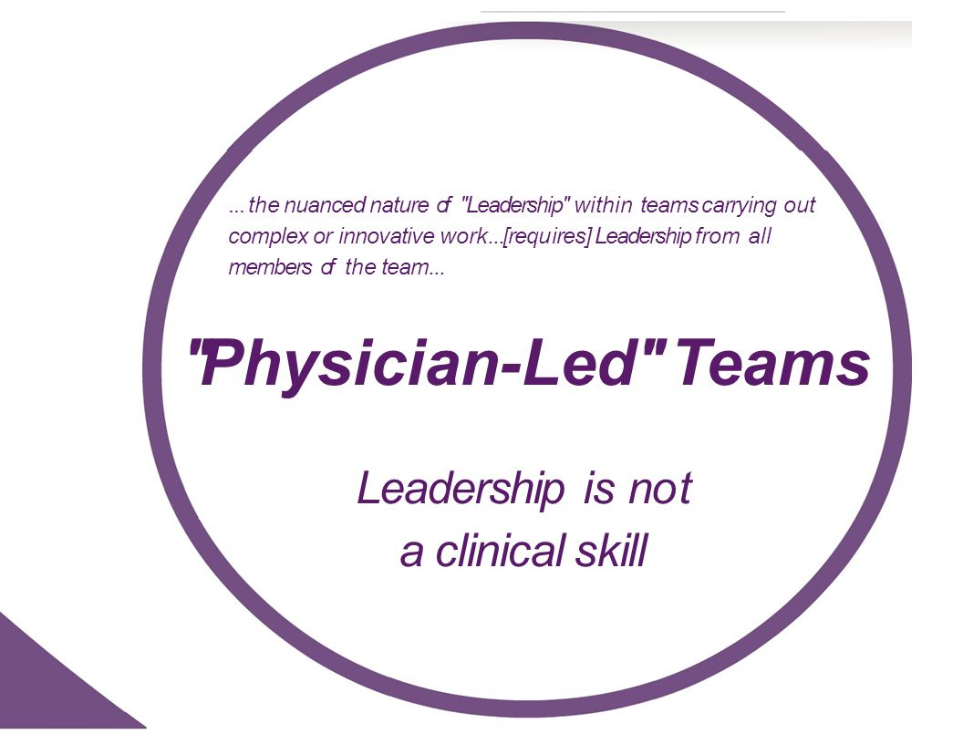 ...the nuanced nature of Leadership within teams carrying out complex or innovative work...[requ ires] Leadership from all members of the team...