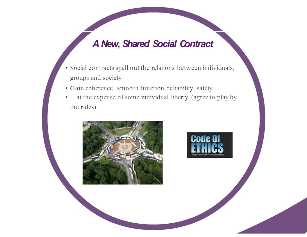 A New, Shared Social Contract Social contracts spell out the relations between individuals, groups and society Gain coherence, smooth function, reliability, safety......