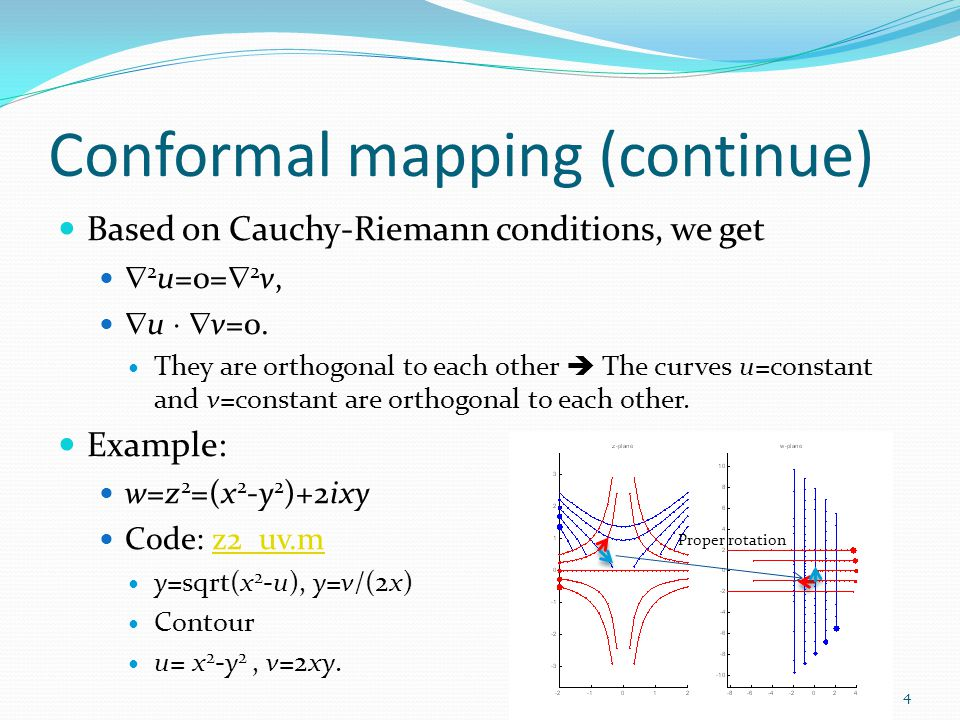 Conformal mapping (continue) Based on Cauchy-Riemann conditions, we get  2 u=0=  2 v,  u   v=0.
