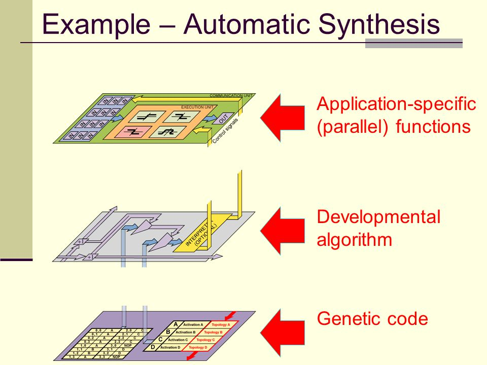 Genotype Layer Phenotype Layer Example – Automatic Synthesis Application-specific (parallel) functions Developmental algorithm Genetic code Mapping Layer