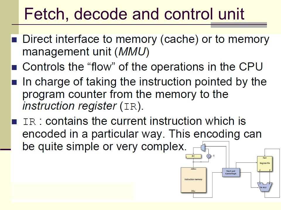 Fetch, decode and control unit