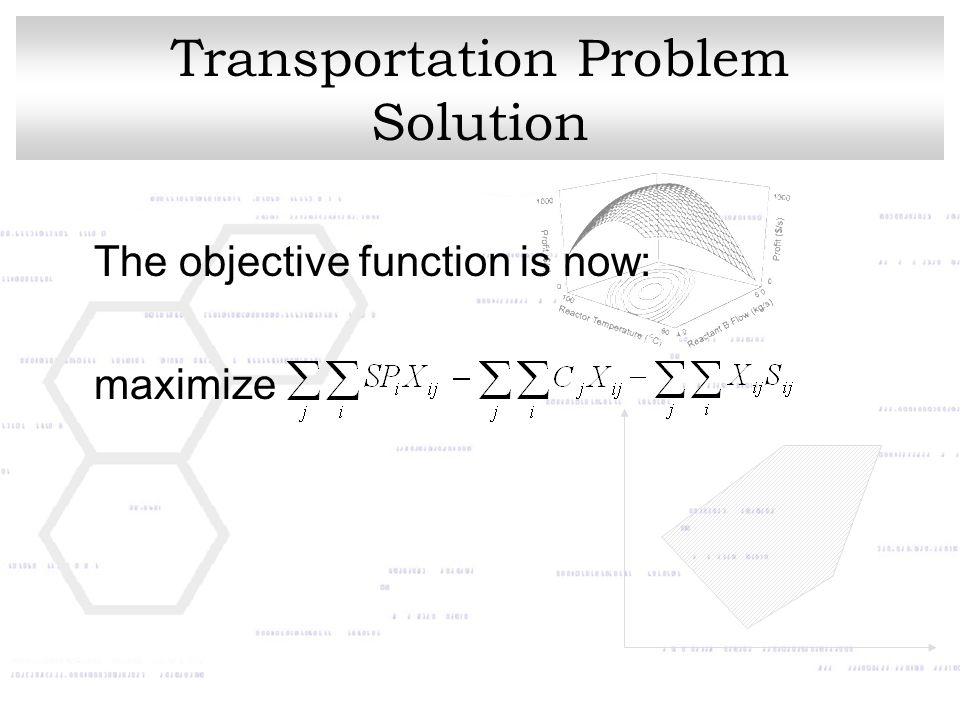 Transportation Problem Solution The objective function is now: maximize
