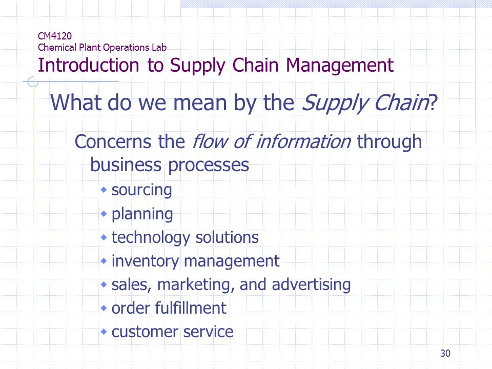 30 CM4120 Chemical Plant Operations Lab Introduction to Supply Chain Management What do we mean by the Supply Chain.