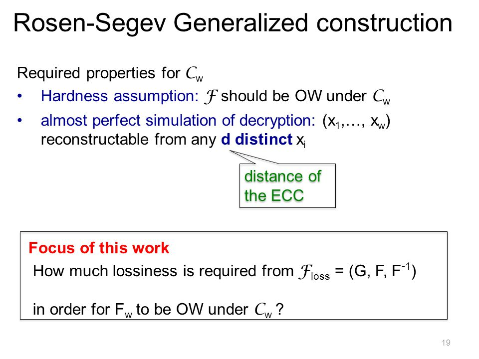 19 Required properties for C w Hardness assumption: F should be OW under C w almost perfect simulation of decryption: (x 1,…, x w ) reconstructable from any d distinct x i How much lossiness is required from F loss = (G, F, F -1 ) in order for F w to be OW under C w .