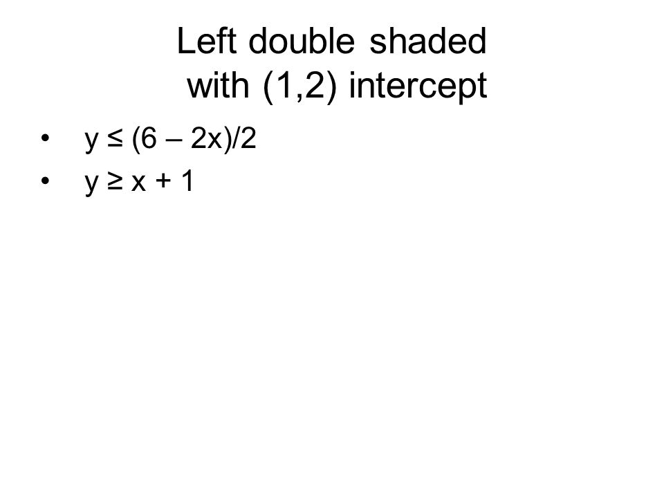 Left double shaded with (1,2) intercept y ≤ (6 – 2x)/2 y ≥ x + 1