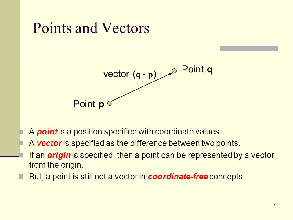 7 Points and Vectors A point is a position specified with coordinate values.