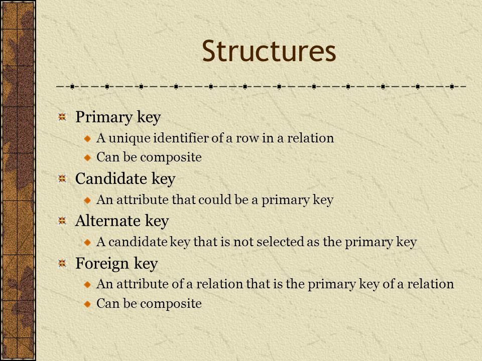 Structures Primary key A unique identifier of a row in a relation Can be composite Candidate key An attribute that could be a primary key Alternate key A candidate key that is not selected as the primary key Foreign key An attribute of a relation that is the primary key of a relation Can be composite