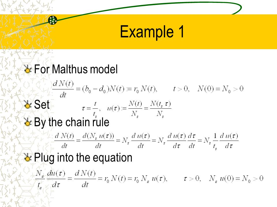 Example 1 For Malthus model Set By the chain rule Plug into the equation