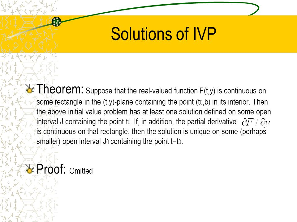 Solutions of IVP Theorem: Suppose that the real-valued function F(t,y) is continuous on some rectangle in the (t,y)-plane containing the point (t 0,b) in its interior.