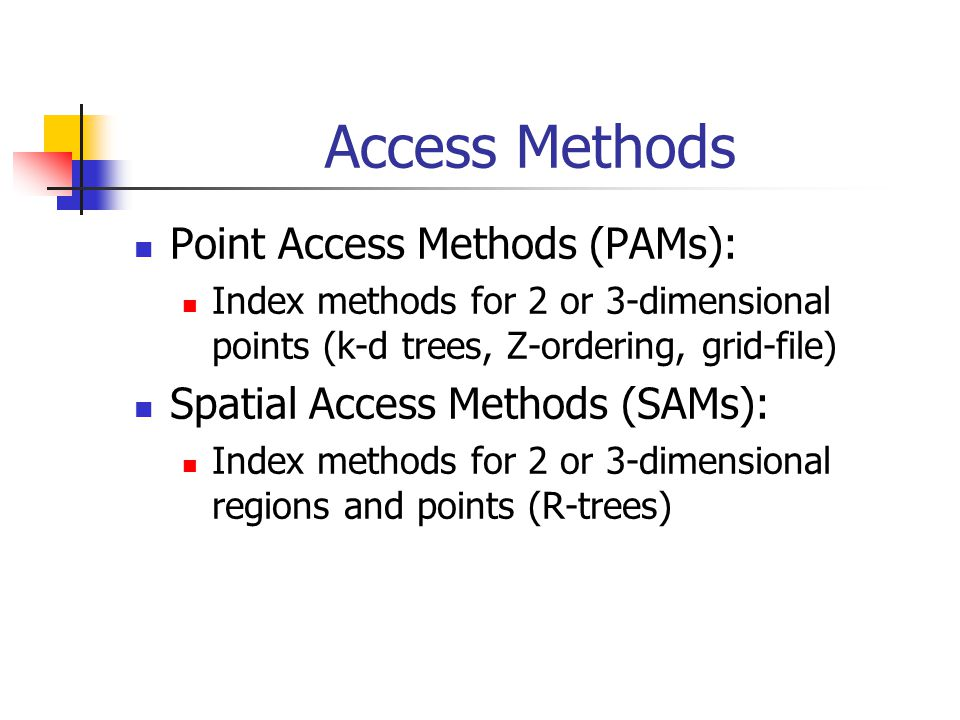 Access Methods Point Access Methods (PAMs): Index methods for 2 or 3-dimensional points (k-d trees, Z-ordering, grid-file) Spatial Access Methods (SAMs): Index methods for 2 or 3-dimensional regions and points (R-trees)