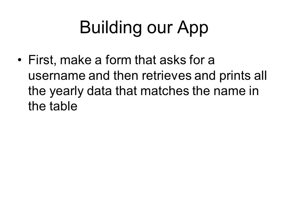 Building our App First, make a form that asks for a username and then retrieves and prints all the yearly data that matches the name in the table