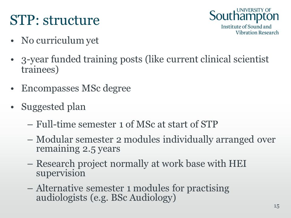 Msc Curriculum For Audiology Mark E Lutmanjane Burgneay Institute