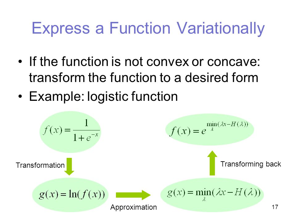 17 Express a Function Variationally If the function is not convex or concave: transform the function to a desired form Example: logistic function Transformation Approximation Transforming back