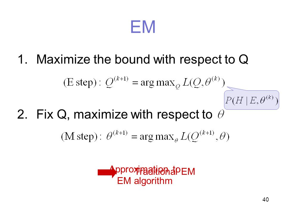 40 EM 1.Maximize the bound with respect to Q 2.Fix Q, maximize with respect to Traditional EM Approximation to EM algorithm