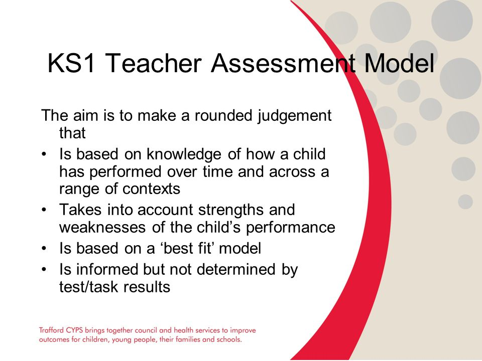 KS1 Teacher Assessment Model The aim is to make a rounded judgement that Is based on knowledge of how a child has performed over time and across a range of contexts Takes into account strengths and weaknesses of the child's performance Is based on a 'best fit' model Is informed but not determined by test/task results