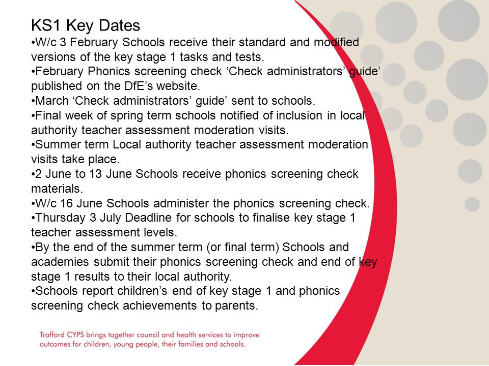 KS1 Key Dates W/c 3 February Schools receive their standard and modified versions of the key stage 1 tasks and tests.